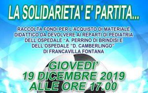 Domani a Mesagne calcio solidalidarietà con incasso da devolvere ai reparti di Pediatria di Brindisi e Francavilla