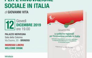 """Giovedì 12 a Palazzo Nervegna si presenta il libro """"Le Politiche Regionali per l'Innovazione Sociale in Italia"""""""