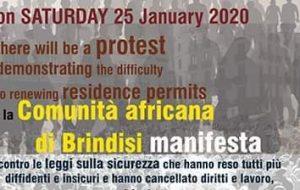 La CGIL Brindisi aderisce alla manifestazione indetta dalla Comunità Africana di Brindisi