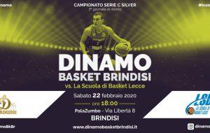 Sabato 22 febbraio la Dinamo Brindisi sfida Lecce alle 18 al PalaZumbo