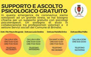 Coronavirus: si amplia l'offerta di assistenza psicologica gratuita nel Comune di Brindisi