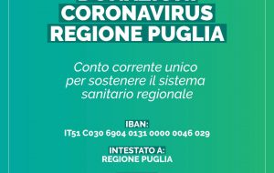 Coronavirus, Regione Puglia: un conto corrente unico per sostenere il sistema sanitario regionale