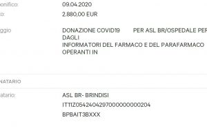 Coronavirus: gli Informatori Medici della Provincia di Brindisi donano 2880,00 € all'Ospedale Perrino
