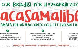"""25 Aprile: il CCR di Brindisi lancia l'iniziativa """"A casa ma liberi"""""""