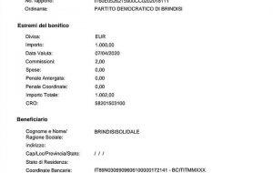 """Donazione del PD alla rete Brindisi Solidale, Cannalire: """"Chi può donare lo faccia"""""""