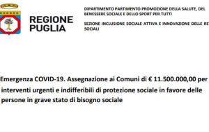 Coronavirus: la Giunta Regionale stanzia 11,5 milioni per le famiglie in difficoltà. Ecco Comune per Comune quanto arriva in provincia di Brindisi