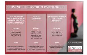 Asl Brindisi: il servizio di supporto psicologico attivo anche nella fase due