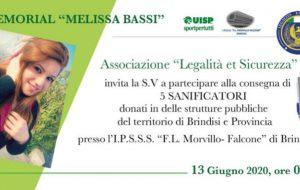 """8^ Memorial Melissa Bassi: sabato 13 l'Ass. """"Legalità et Sicurezza"""" consegna 5 generatori di ozono"""