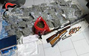 Beccati con 20 Kg di droga, tre fucili illegali, pallottole ed auto rubata: in carcere tre mesagnesi