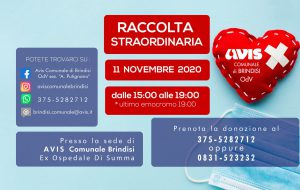 Avis Brindisi: mercoledì 11 novembre raccolta sangue presso l'ex ospedale