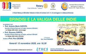 Brindisi e la Valigia delle Indie: se ne parla oggi nel convegno in videoconferenza organizzato dal Club Rotary di Brindisi Valesio