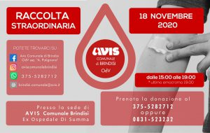 Avis Brindisi: mercoledì 18 raccolta sangue presso l'ex ospedale Di Summa