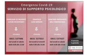 Asl Br: Riparte l'attività di supporto psicologico in emergenza covid
