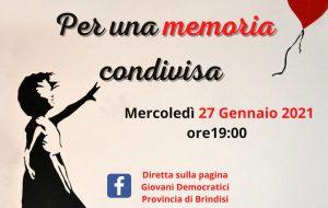 """Federazione GD Brindisi: Iniziativa Online – 27 Gennaio """"Memoria Condivisa """""""
