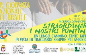 """XIV Giornata Nazionale del Braille: il 22 Febbraio il convegno """"Straordinari i nostri puntini! Un lungo cammino tante tappe in vista di traguardi sempre più ambiziosi"""""""