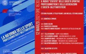 """UniSalento: il 12 marzo per ciclo di seminari su """"La riforma dello sport dilettantistico e professionistico"""""""