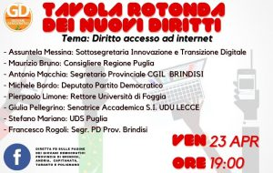 """GD Provincia di Brindisi: la Sottosegretaria Messina alla tavola rotonda su """"Diritto accesso ad internet"""""""