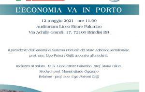 """Mercoledì 12 """"L'economia va in porto"""", incontro organizzato da Liceo Palumbo e AdSP MAM"""