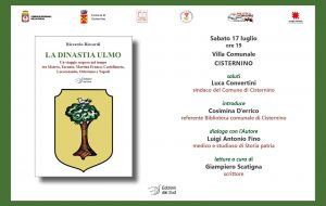 """Sabato 17 a Cisternino si presenta il libro """"La dinastia Ulmo"""" della linea editoriale """"Leggi la Puglia"""""""