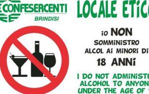 """""""Niente alcol ai minori"""": ecco l'iniziativa di Confesercenti Brindisi rivolta ai locali della movida"""