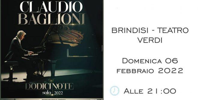 Il nuovo tour di Claudio Baglioni farà tappa a Brindisi: appuntamento il 6 febbraio 2022 al Nuovo Teatro Verdi