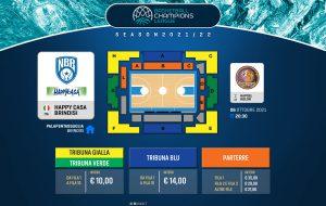 Basketball Champions League 21/22: in vendita i biglietti per l'esordio contro Holon
