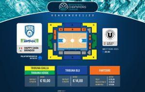 BCL 21/22: in vendita i biglietti per il match Happy Casa Brindisi-Cluj
